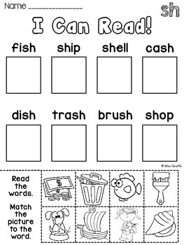 Digraphs: SH TH Worksheets and Activities {NO PREP} by Miss Giraffe
