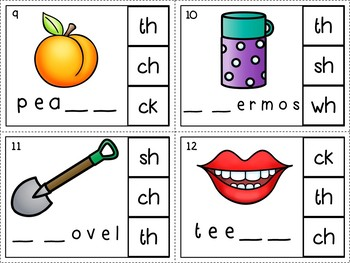 Digraphs: Self-Checking Phonics Center (Clip Cards!)