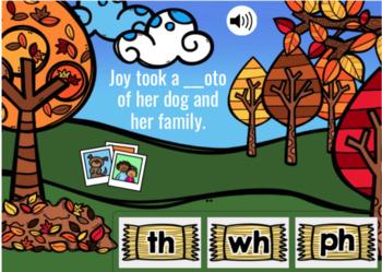 Digraphs Sentences Fall Themed Digital Boom Cards