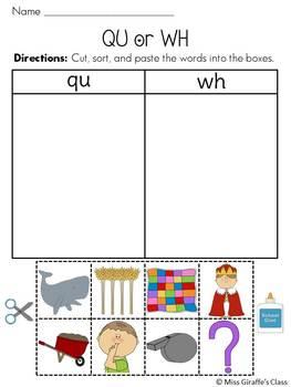 Digraphs Sorts Pack {ch, sh, th, wh, qu}