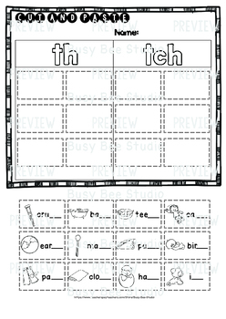 Digraphs Sorts TH-TCH | Cut and Paste Worksheets