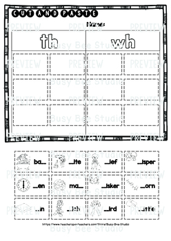 Digraphs TH-WH | Cut and Paste Worksheets