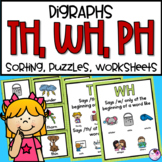 Digraphs TH, WH, PH Activities and Worksheets