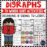 Digraphs TH WORDS SORT - Beginning and Ending TH DIGRAPHS Worksheets