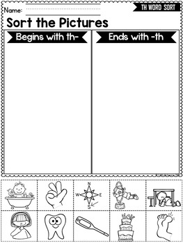 Digraphs TH WORDS SORT - Beginning and Ending TH DIGRAPHS Worksheets