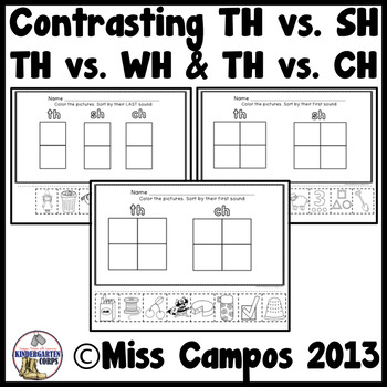 Th Digraph Worksheets (includes SH, CH, Wh)