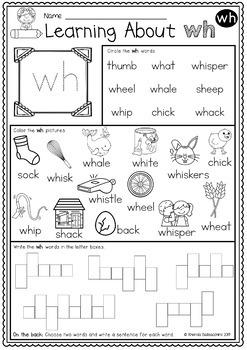 Digraphs: WH Worksheets ~  NO PREP Printables