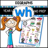 Digraphs: WH Worksheets ~  NO PREP Printables