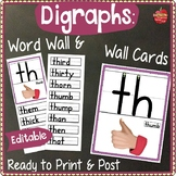 Digraphs Wall Cards & Word Wall- Ready to Print & Post, HWT style font 3-lines