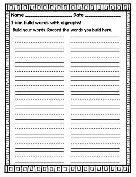 Digraphs Word Building Cards- Differentiated Literacy Center
