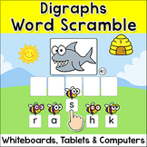 Digraphs Word Scramble Spelling Game for Smartboards & Computers