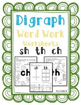 Digraphs Word Work Worksheet Set