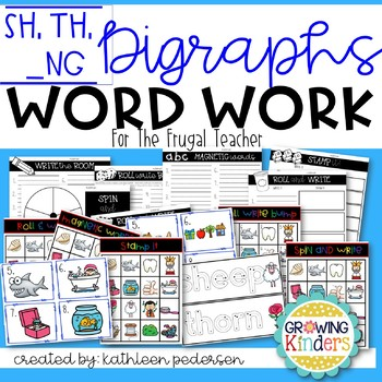 Digraphs Word Work for the Frugal Teacher (th, sh, ng)