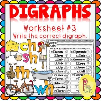 Digraphs Worksheet Write