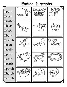 Digraphs Worksheets: Beginning and Ending