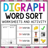 Consonant Digraphs sh th wh ch - Digraphs Worksheets
