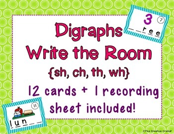 Digraphs Write the Room / Literacy Center Activity