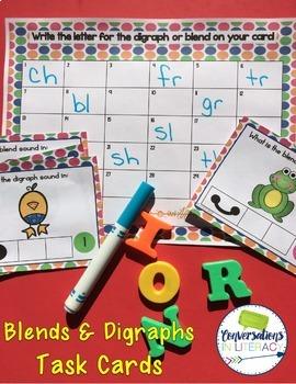 Digraphs and Blends Sounds Task Cards with Sound Boxes