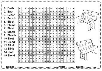 Digraphs and Blends Wordsearch Worksheets