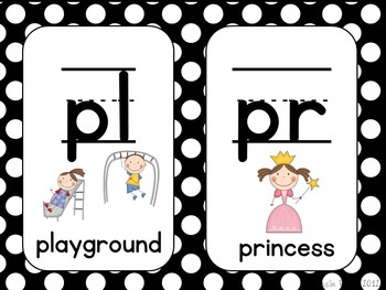 Digraphs and Blends posters - Black and White Polka Dots in Zaner-Bloser