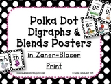 Digraphs and Blends posters - Black and White Polka Dots i