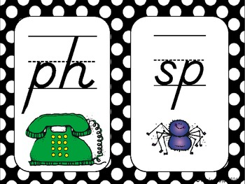 Digraphs and Blends posters - Black and White Polka Dots in D'Nealian