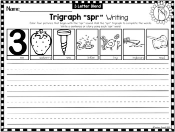 Digraphs and Trigraphs (3 Letter Blends) Writing Printables