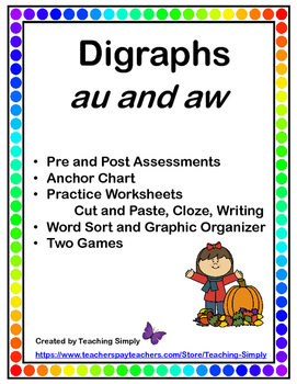 Vowel Digraphs au and aw - variant vowels - RTI