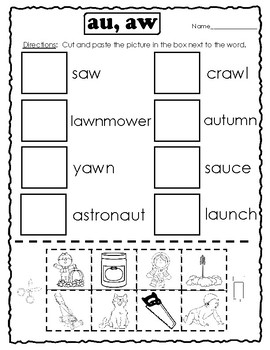 Digraphs au and aw Activities