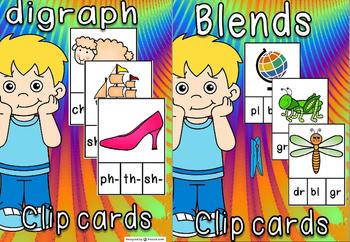 Digraphs & blends clip cards