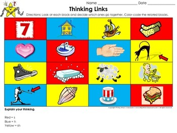 Digraphs: s, h, sh Thinking Links Activity - King Virtue's Classroom