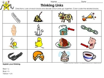 Digraphs: c, h, ch Thinking Links Activity - King Virtue's Classroom