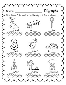Digraphs - ch, sh, th, wh