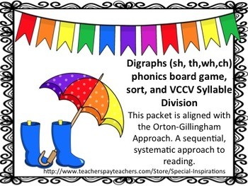 Digraphs (ch, sh, th, wh) Spring Theme Board Game and Sort