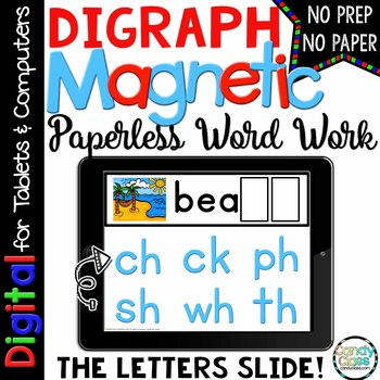Digraphs Digital Word Work - Paperless Phonics Centers for Google Classroom Use