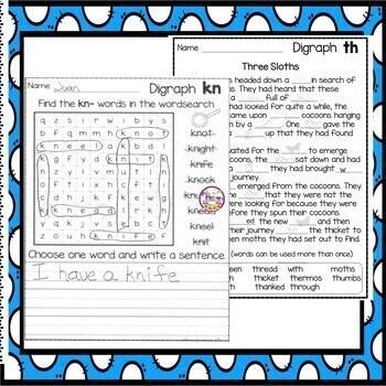 Distance Learning Digraph Worksheet Activities Digraphs th wh wr ph kn sh ck ch