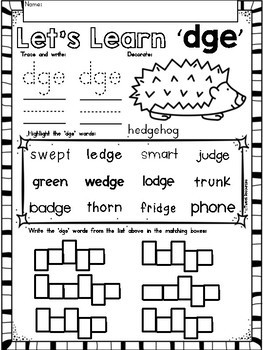 "Trigraphs ""dge"" Phonics Literacy Printables for Kindergarten and First Grade"