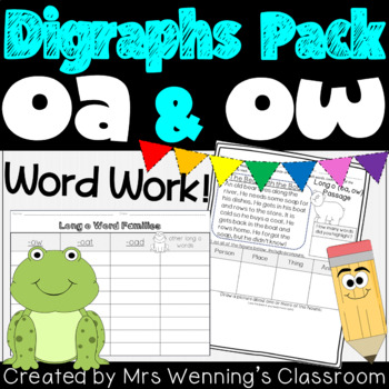 Digraphs oa & ow - A Full Week of Lesson Plans, Activities, and Word Work!