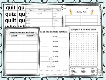 Digraphs qu and wh Pack! A Full Week of Lesson Plans, Word Work, and Activities!