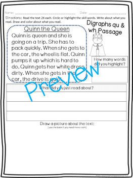 Digraphs qu and wh Pack! A Week of Lesson Plans, Word Work, and Activities!
