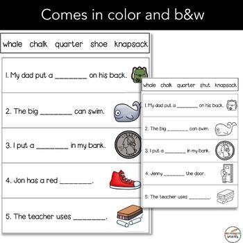Digraphs sentence practice