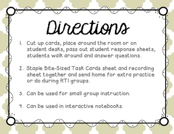 Digraphs (sh and ch) Tiny Task Cards
