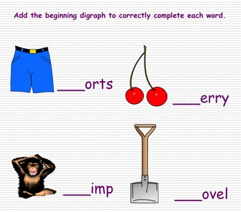 Digraphs sh ch SMART Notebook Lesson