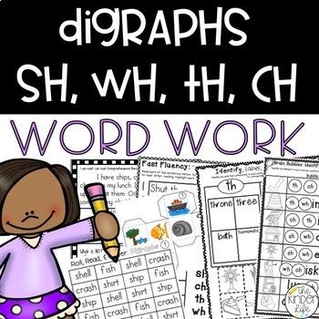 Digraphs Phonics Word Work 8 Print & Go RTI Center Activities