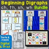 Beginning Digraphs sh, ch, th, wh Print & Digital Bundle (