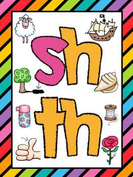Digraphs (sh, th) Phonics Worksheets (No Prep)