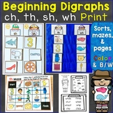 Beginning Digraphs sh, th, ch, wh Sorts, Mazes, & Hunts Pr