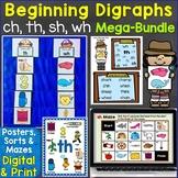 Beginning Digraphs sh, th, ch, wh Mega-Bundle Printables,
