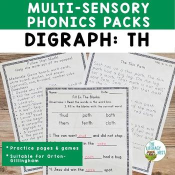 Digraphs TH Orton-Gillingham Level 1 Multisensory Phonics Activities