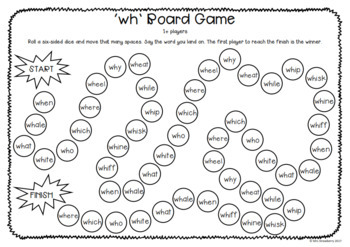 Digraphs: wh Board Game